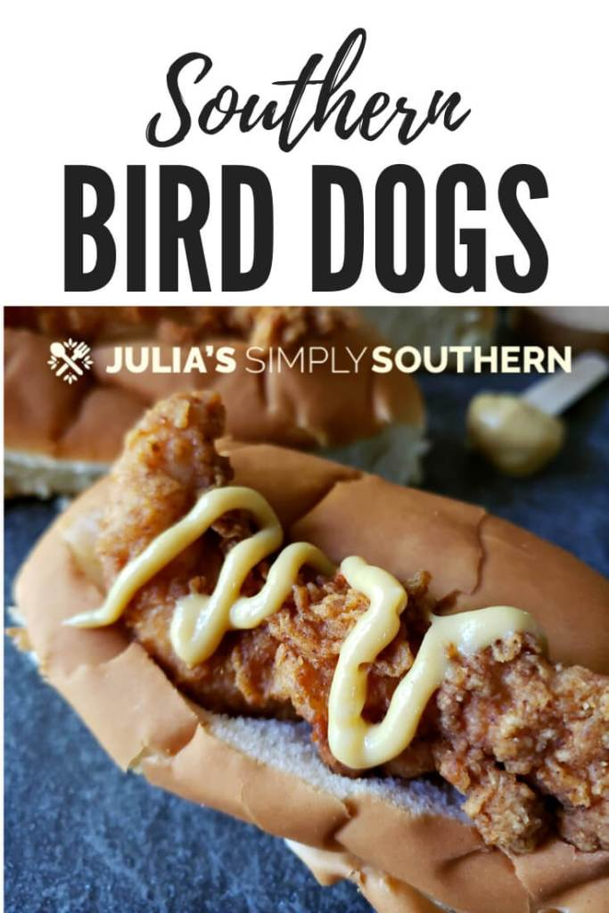 South Carolina famous Southern Bird Dogs Recipe are a chicken tender sandwich on hot dog buns with your favorite toppings #EasyRecipe #Tailgating #chickenrecipes #kidfriendly #chickentenders #BirdDogs