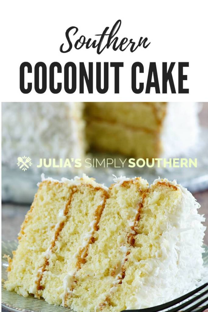 How to bake a delicious coconut cake from scratch? This amazing Southern coconut cake is perfect for desserts anytime and a special addition to holiday menus. #coconutcake #desserts #baking #homemadecakes #holidayrecipes #holidaydesserts #SouthernFood