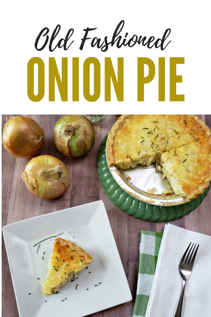 Learn to make an old fashioned Vidalia onion pie (quiche). This savory creamy onion pie is delicious for brunch or supper. #onionpie #oldschoolrecipe #classic #cheeseandonion #quicherecipes