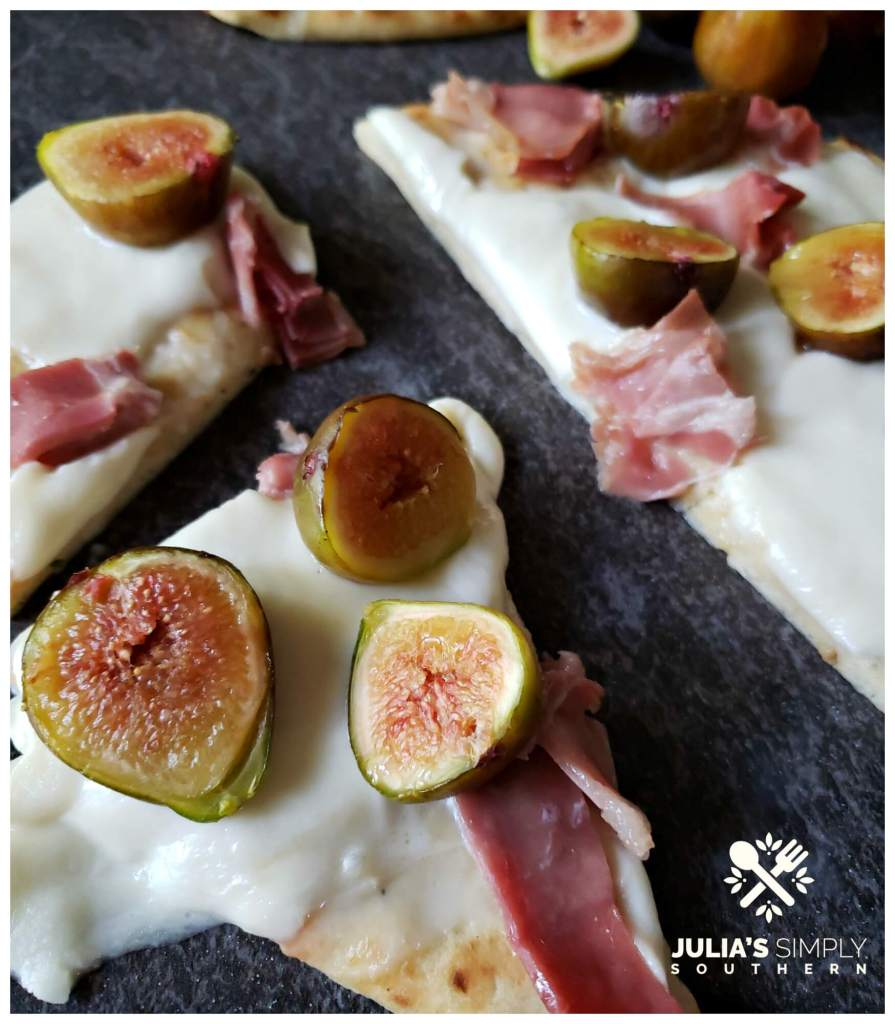Prepare fig flatbread pizza in the oven or on your grill for easy fresh appetizers or a delicious dinner
