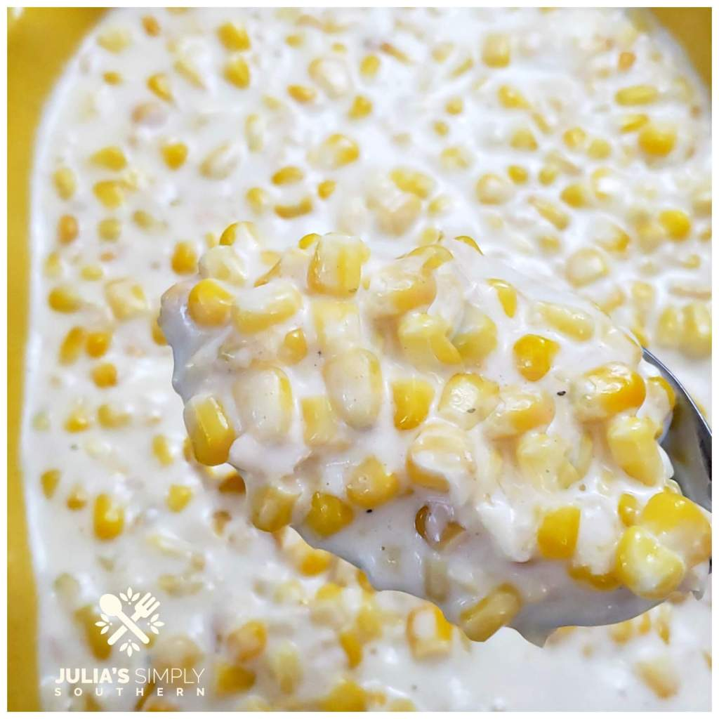 Casserole dish with super creamy creamed sweet corn