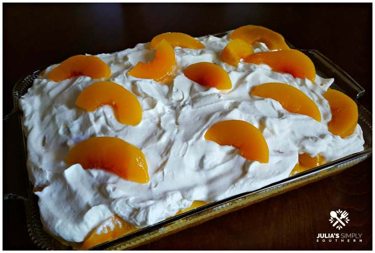 Peaches & Cream Poke Cake
