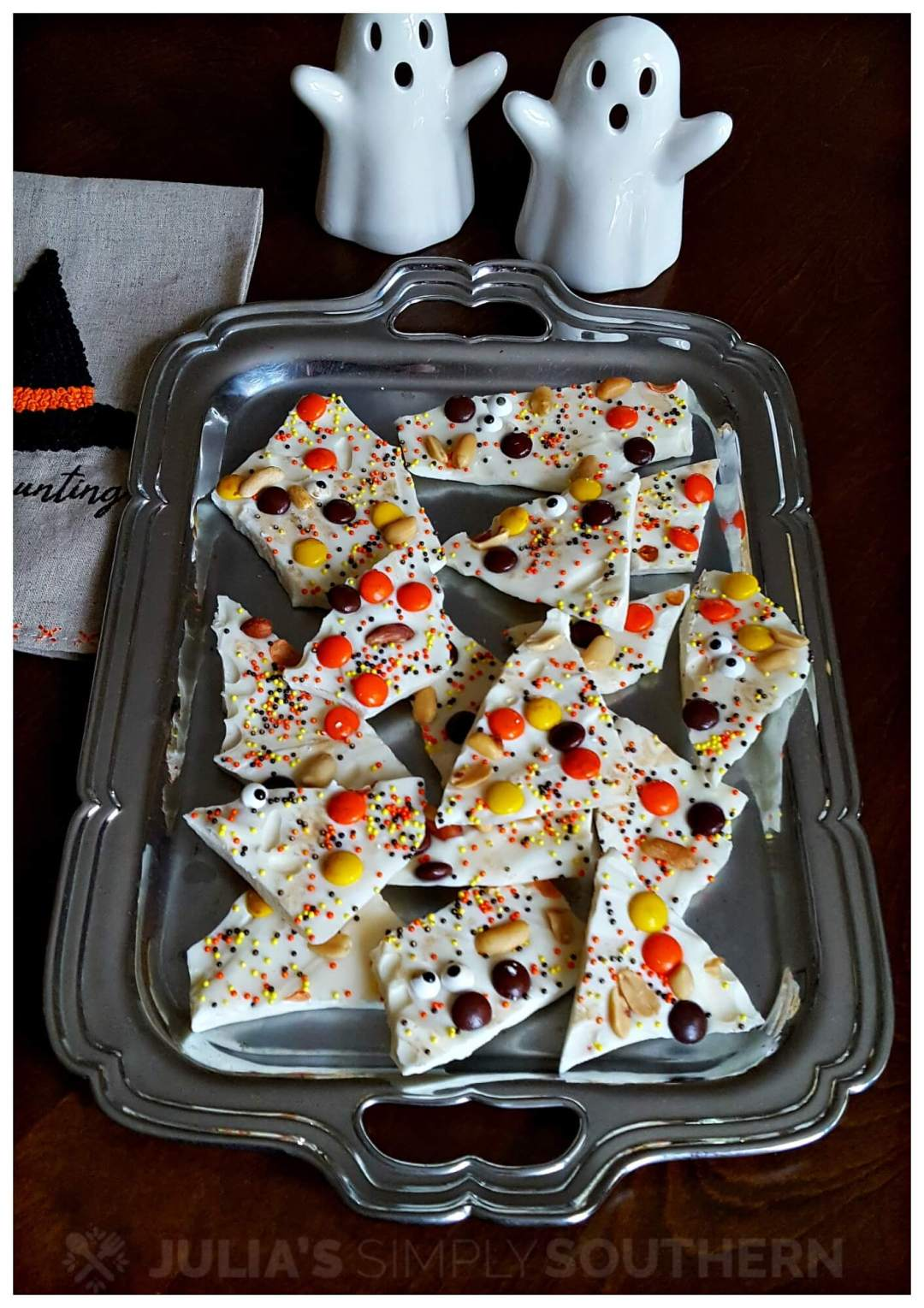 Silver serving tray with Halloween Bark Candy