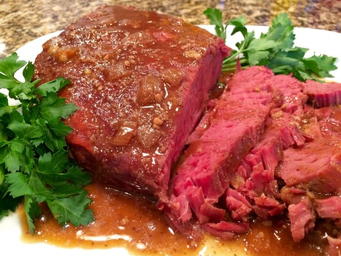 Slow Cooker Corned Beef & Guinness Reduction