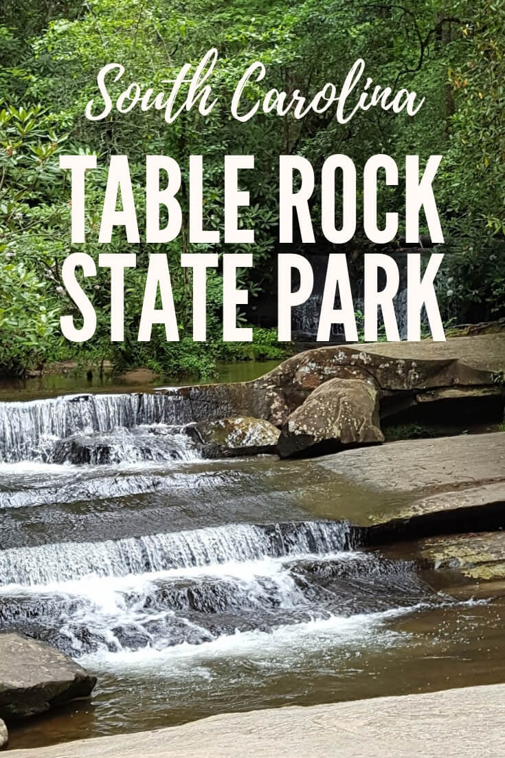Beautiful Table Rock State Park in the Blue Ridge Mountain region of South Carolina is breathtaking. There are gorgeous hiking trails, areas for swimming, numerous waterfalls and the beauty of nature is everywhere. #SC #statepark #SouthCarolina #exploreSC #Southern #travel #GreatOutdoors #FamilyVacationIdeas #BudgetFriendlyActivities #NatureHike