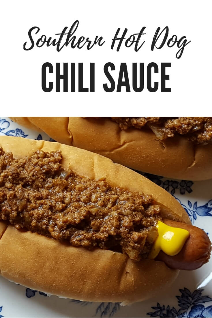 The Best Southern Hot Dog Chili Sauce Recipe - this is Julia's signature recipe for old fashioned Carolina style chili sauce that everyone loves #chili #hotdog #chilisauce #grilling #SouthernFood