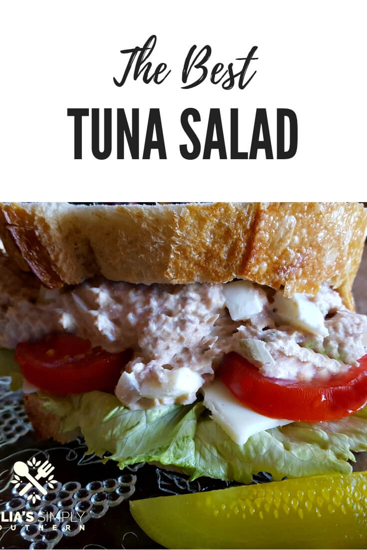 Make the very best old fashioned tuna salad with egg that is delicious on crackers, as a salad topper or on a sandwich. This tuna salad has great texture and flavor and is perfect for lunches and small gatherings. #TunaSalad #Luncheons #Lunch #Seafood