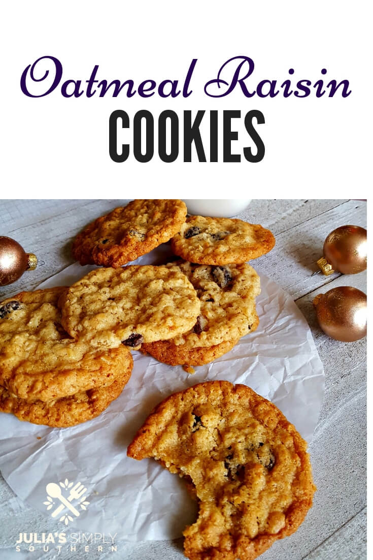 Ultimate Old Fashioned Oatmeal Raisin Cookies are a delicious classic treat #dessert #Christmas #Holidays #Baking Julia's Simply Southern