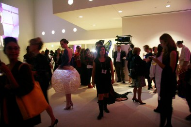 After the show the models walked out and were positioned around the gallery giving the guests an opportunity to inspect the designs and discuss the materials and methods behind them.