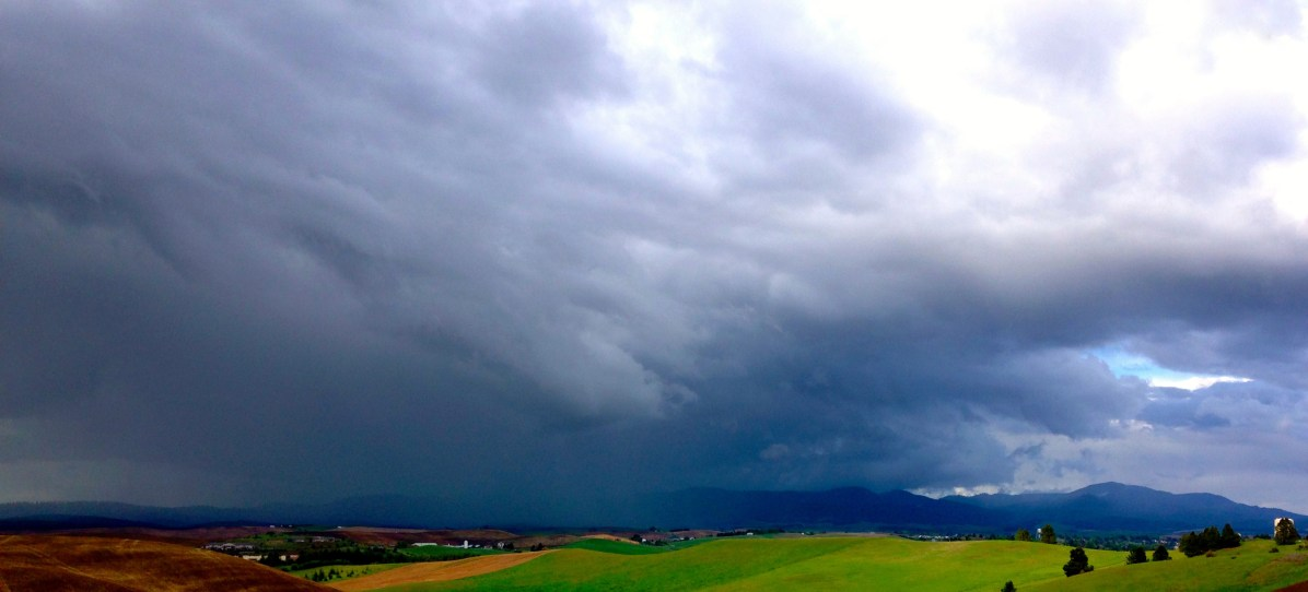 Rain over Moscow, Idaho. Moscow Mountain is the furthest to the right. © Nathan Langford, 2016