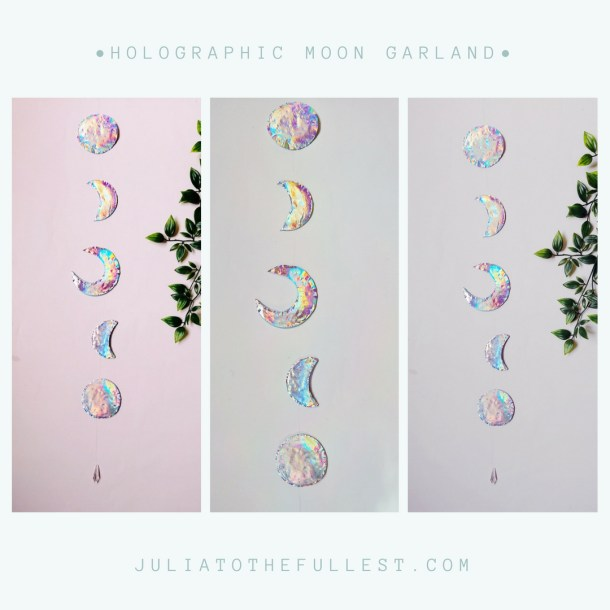 DIY Mond Girlande mit Holo-effekt. DIY Moon garland holographic (6)