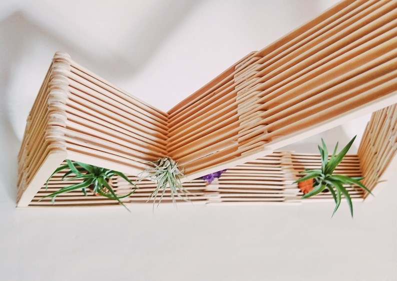 DIY Bergregal aus Holzstäbchen. Regal aus Eisstecker. Mountain shelf popsicle sticks, regal selber bauem berg (16)
