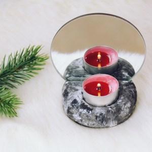 DIY Teelichthalter mit Spiegel, DIY Geschenke für Weihnachten und Geschenk für die beste Freundin selber machen als DIY mit Modelliermasse