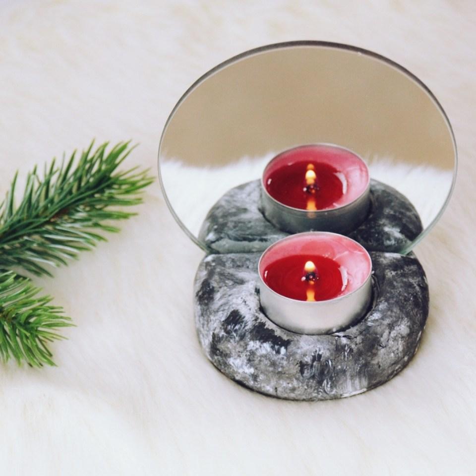 DIY Teelichthalter mit Spiegel, DIY Geschenke für Weihnachten und Geschenk für die beste Freundin selber machen als DIY mit Modelliermasse (11)