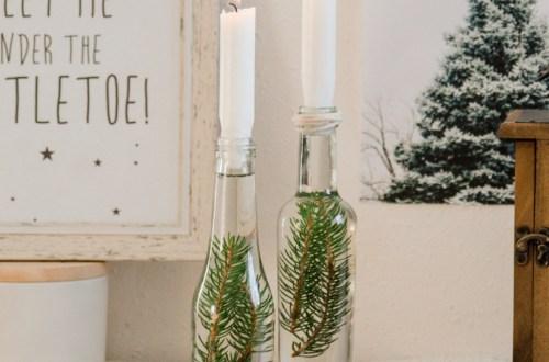 DIY Winterdeko Kerzenhalter aus Flasche, Flaschenkerzenhalter mit Grün, Kerzenhalter mit Grün, Kerzenhalter skandinavisch, Kerzen skandinavisch, basteln, weihnachten ideen deko selber machen (3)