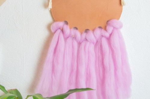 DIY Makramee Wanddeko einfach selber basteln aus Modelliermasse und Filzwolle - Deko selber machen mit Makramee