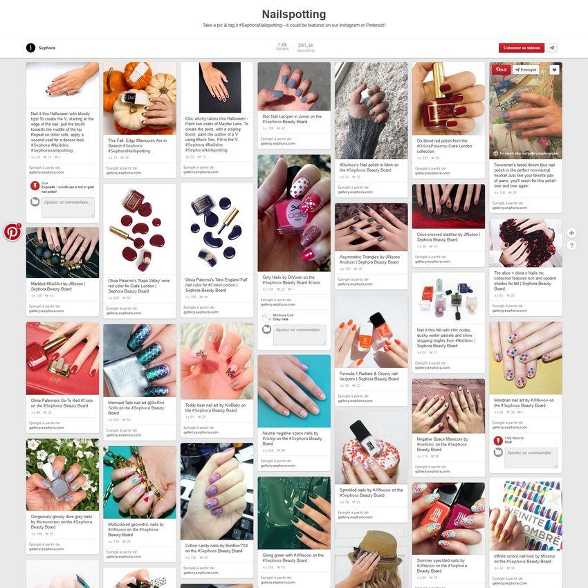 Sephora : relai des photos avec le hashtag #SephoraNailspotting sur Pinterest