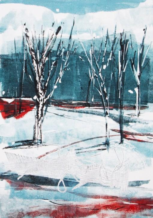 Snow birch Julie Turner mono print