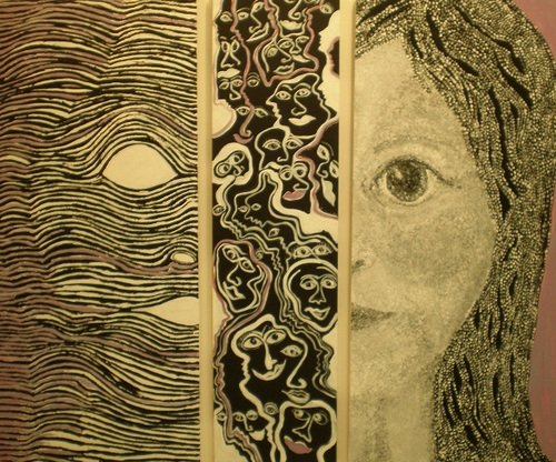 Change(faces)  a triptych – I've adapted one of the doors from a previous exhibition. This work represents time and the changes that occur, along the lines of the more things change the more they stay the same. So although the dot work on the original door moves across free drawing into lines on the far door it is still represents the face of a child