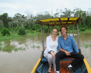 jack and me in the boat to peru