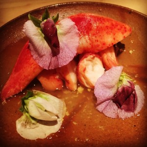 vinegar maine lobster and pea blossoms