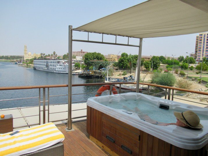 seeing the nile from my private hot tub on the oberoi philae