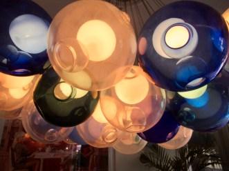 retro lighting in the lobby