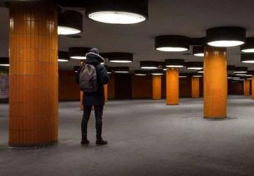 man in an empty office building