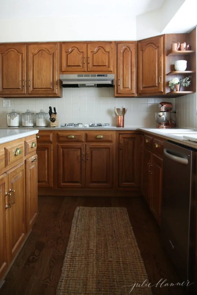 oak cabinets kitchen best rated faucets a simple makeover without paint making the of an 80 s or 90