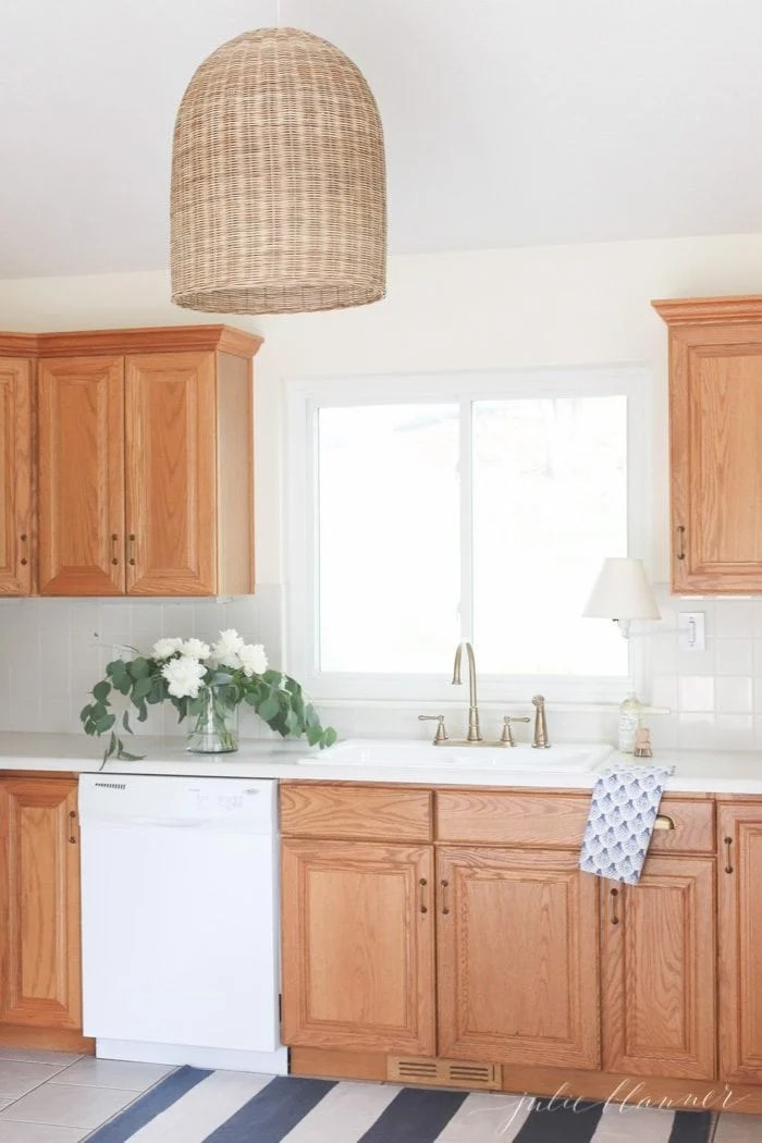Updating a Kitchen with Oak Cabinets Without Painting Them