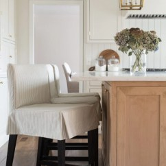 Counter Height Chair Slipcovers Chocolate Accent Chairs Kitchen Stools With Custom Adapted From Ikea Ticking Stripe