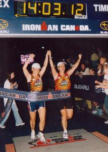 Crossing the finish line at Ironman Canada 2003