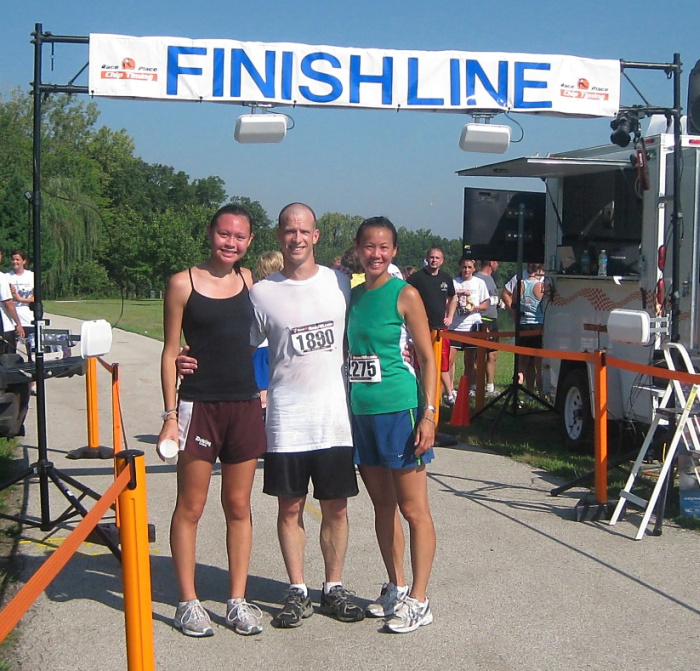 three of us at the 5k finish line