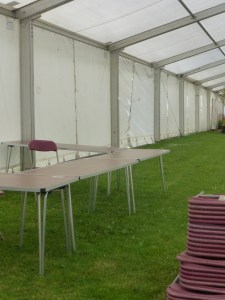 Wednesday morning - lots of tables to be set up
