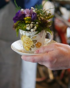 Flowers in a vintage cup and saucer