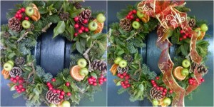 Christmas door wreath with bow