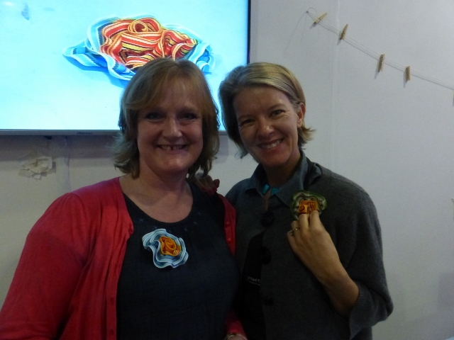Jean Means and Julie Davies with ribbon roses