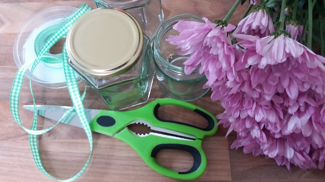 scissors, jars, ribbon and flowers