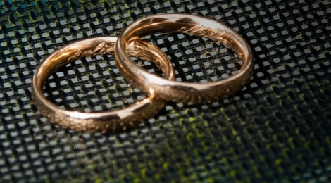 Portuguese rose gold wedding bands, engraved with names and wedding date