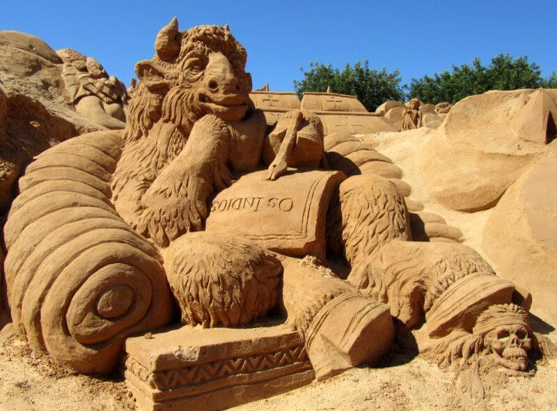 The Historian Bison sand sculpture