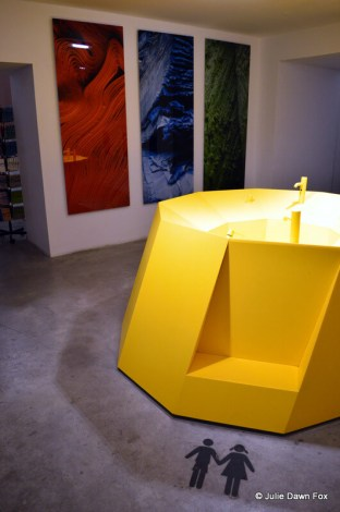 Giant yellow washbasin