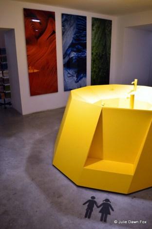Giant yellow washbasin