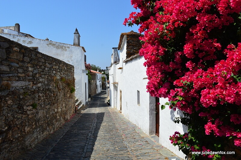 Quiet, pretty street with whitewashed house, cobbled schist roads and red bougainvillea, Monsaraz