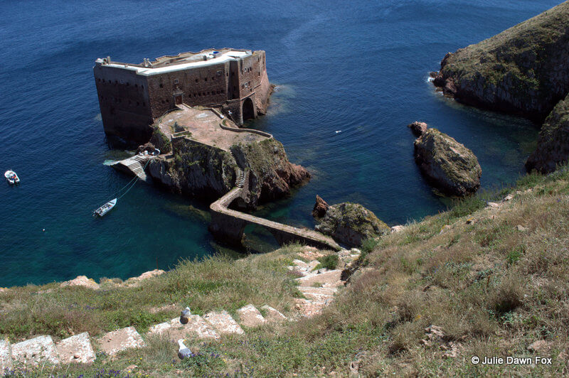 Fort of São João Baptista das Berlengas with steps and boats