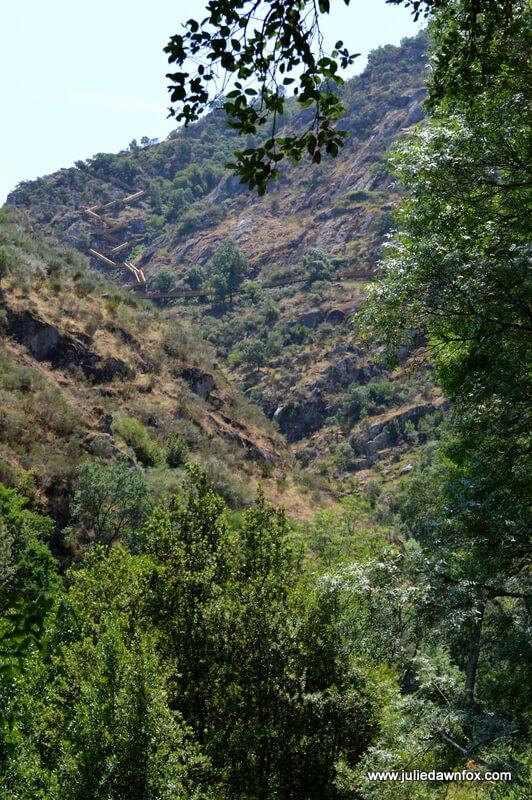 Wooden walkway snaking uphill, Arouca