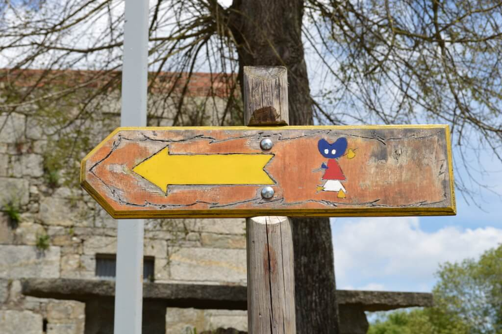 Waymarker in Tui, Portuguese Way of St. James. One of many you'll find when walking the camino de Santiago