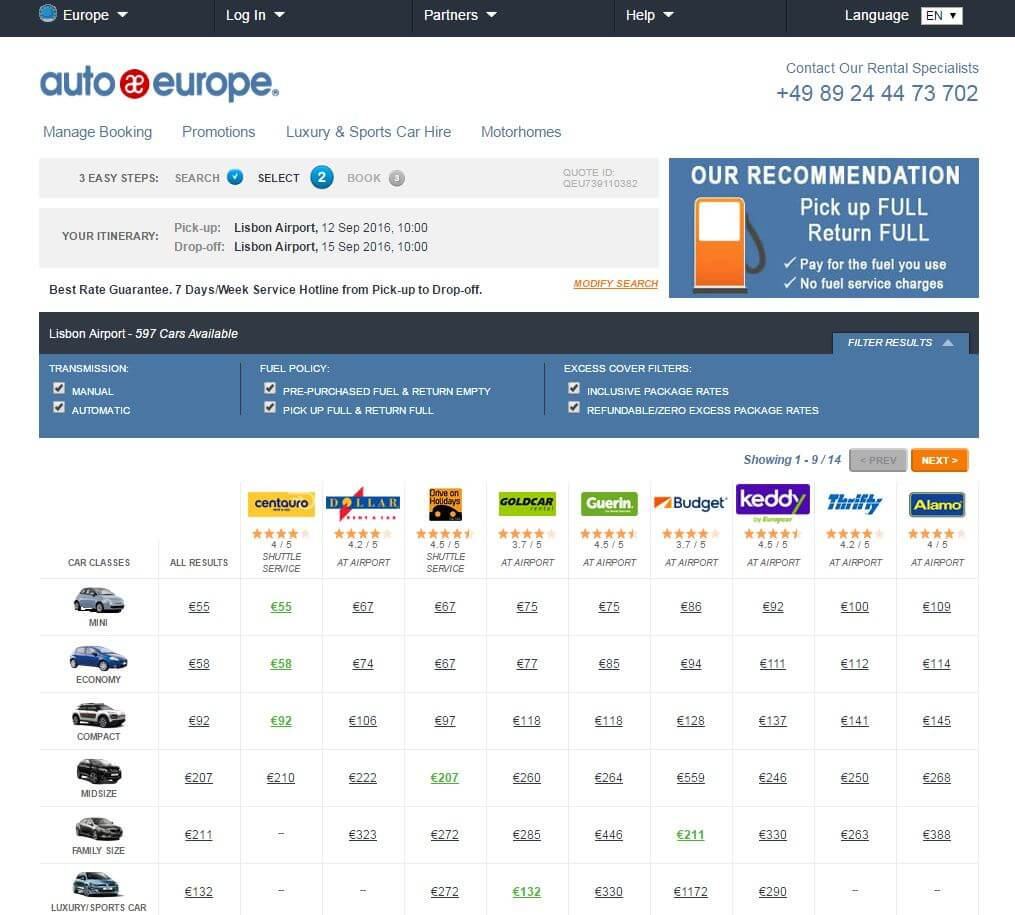Lisbon car rental search with AutoEurope