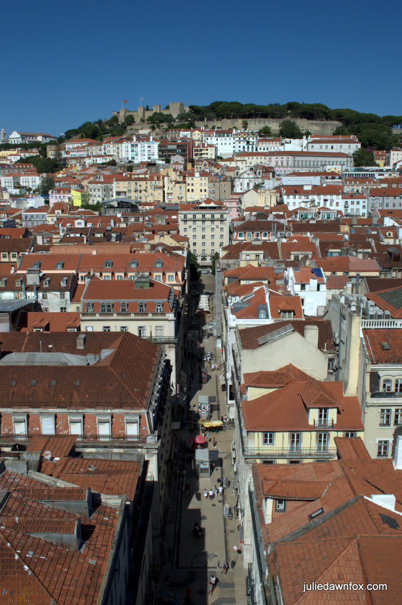 View from Santa Justa lift, Lisbon. Photography by Julie Dawn Fox