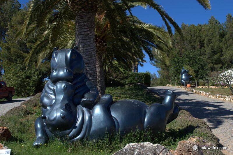 Kissing Hippos, Sculpture by Karl Heinz Stock at Quinta dos Vales, Estômbar, Algarve, Portugal
