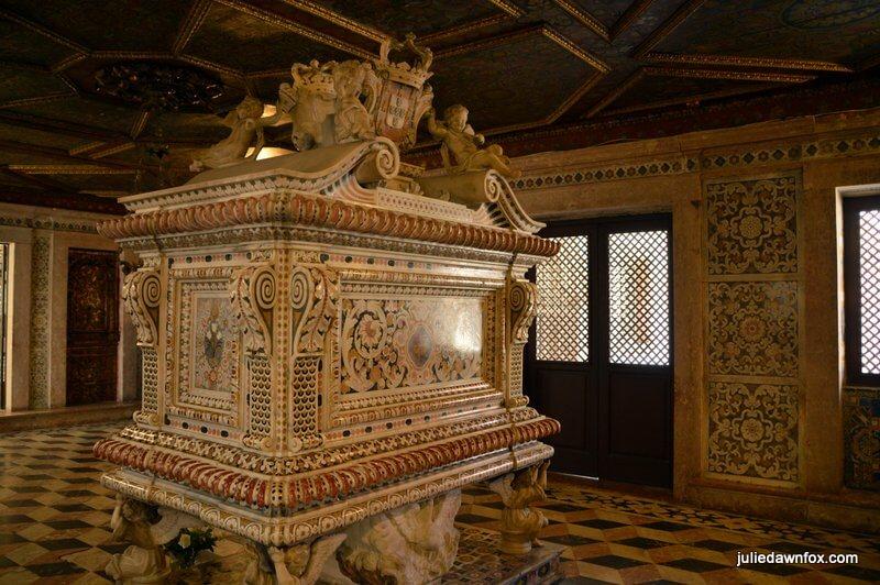 Inlaid marble tomb and room where Princess Santa Joana lies in Aveiro Museum
